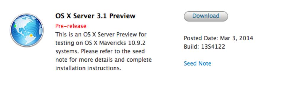 Apple、デベロッパー向けに「OS X Server 3.1 (Build 12S4122)」リリース