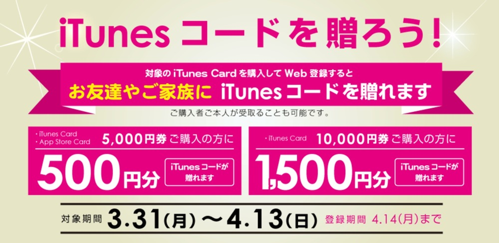 セブンイレブン、5,000円以上のiTunes Cardを購入でiTunesコードをお友達や家族に贈れる「iTunesコードを贈ろう!」を実施中(2014年4月13日まで)