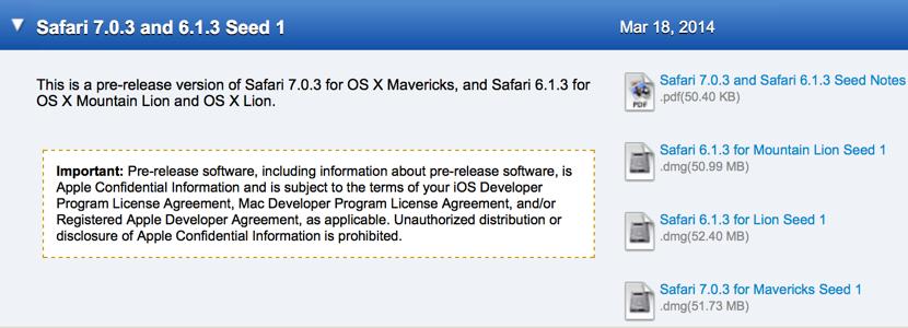 Apple、デベロッパーにMavericks・Mountain Lion向け「Safari 7.0.3/6.1.3」リリース