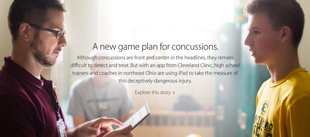 Apple、「Your Verse」ページで新たに「A new game plan  for concussion(脳震とうへの新たな戦略)」を公開