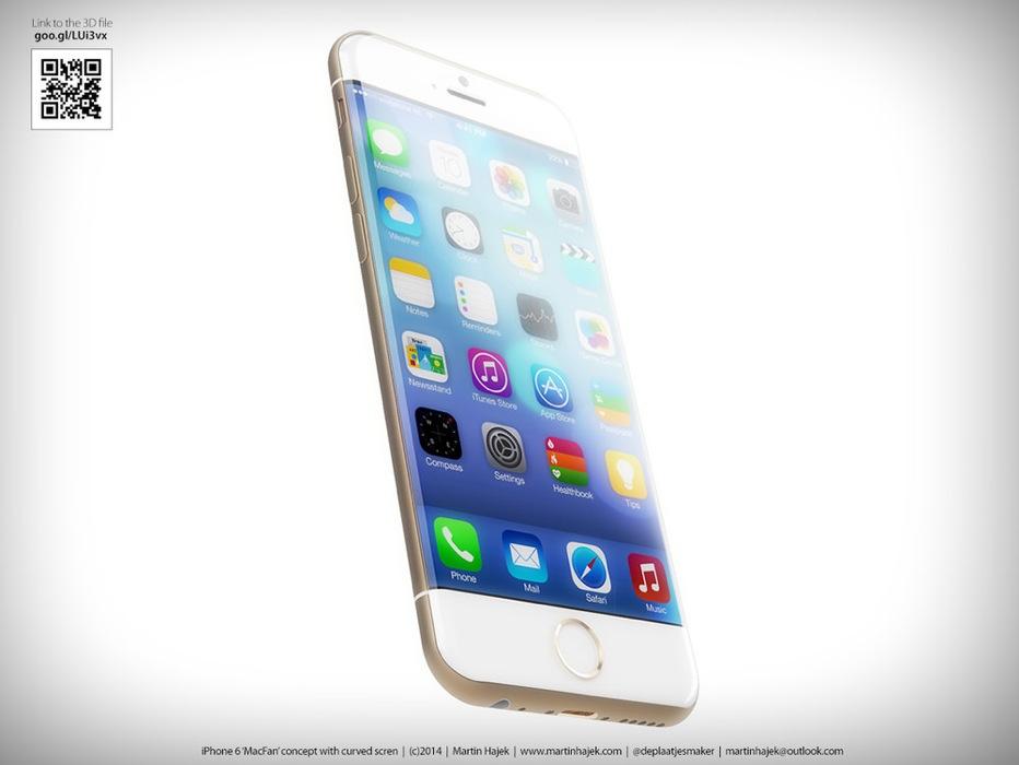 Martin Hajek氏による、エッジ部分を沿うような曲面ガラスを採用した「iPhone 6」のコンセプト画像