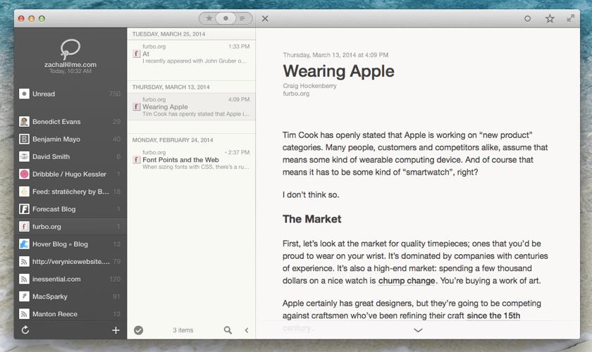 Mac向けRSSリーダー「Reeder 2 for Mac」のパブリックベータが公開