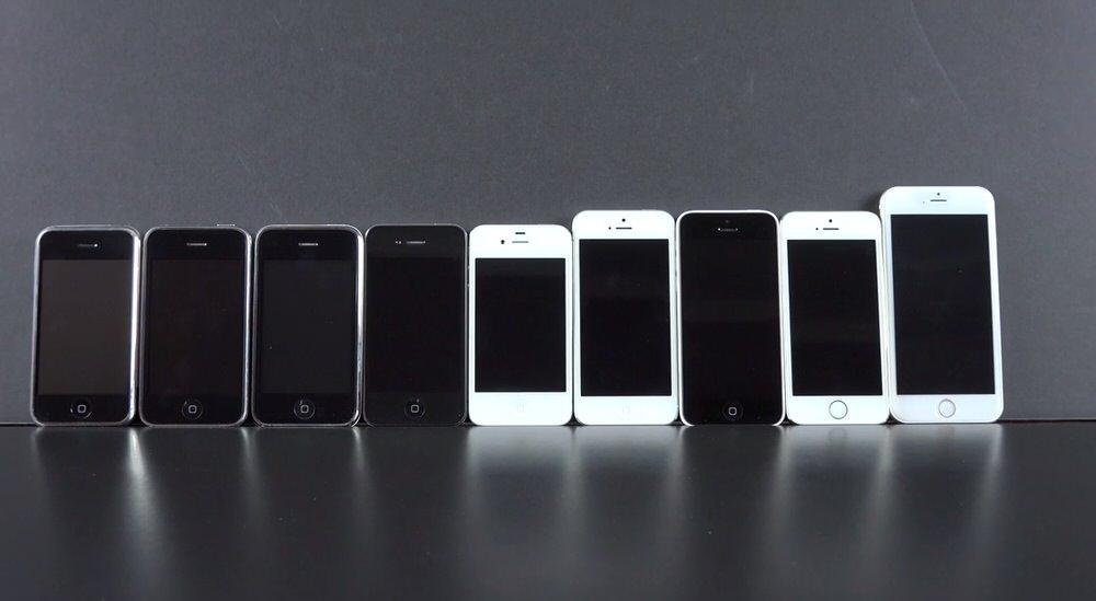 4.7インチ「iPhone 6」モックアップと歴代iPhoneを比較した動画