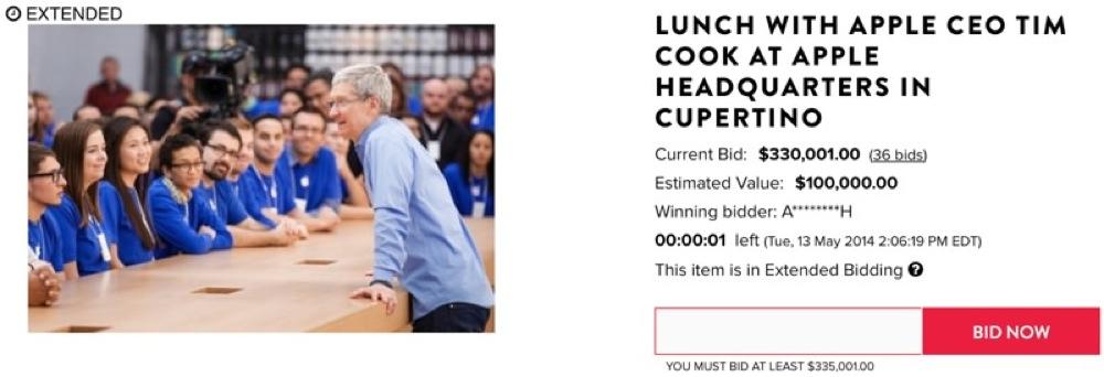 Tim Cook CEOとApple本社でランチミーティングできる権利は、330,001ドルで落札