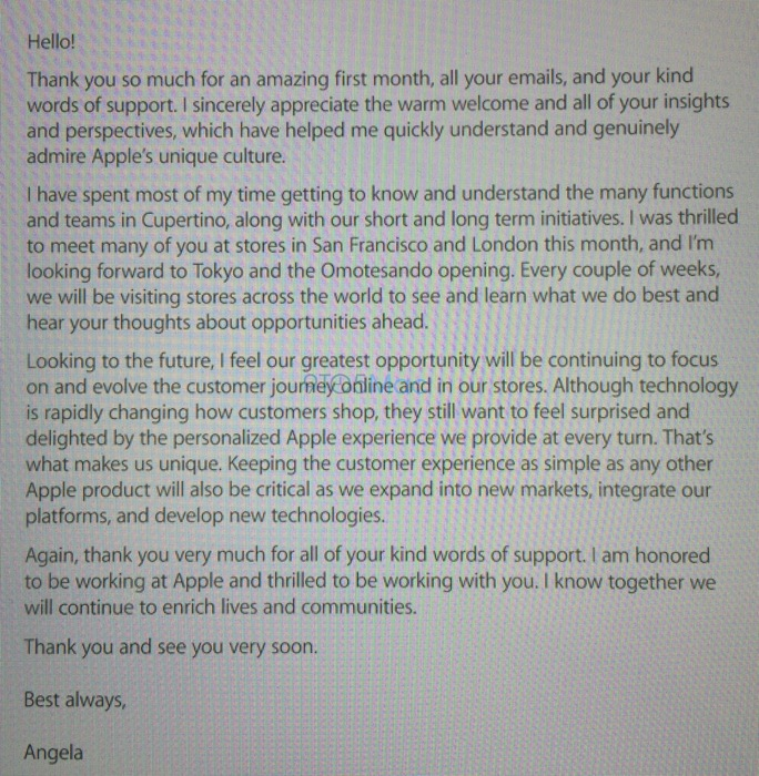 AppleのAngela Ahrendts氏、Apple Retail Storeのスタッフに対して最初のメモを送る