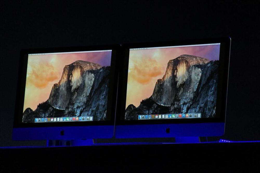 「WWDC 2014」の基調講演会場にあるiMacは「OS X 10.10」、アイコンなどが変更に