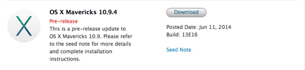 Apple、デベロッパー向けに「OS X 10.9.4 (build 13E16)」リリース