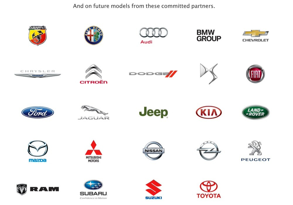Apple、「CarPlay」の提携パートナーにChryslerやJeep、Mazdaなど9社を追加