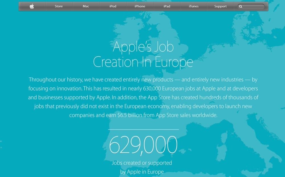 Apple、ヨーロッパでの雇用状況を公開、約63万人の雇用をもたらしていることを明らかに