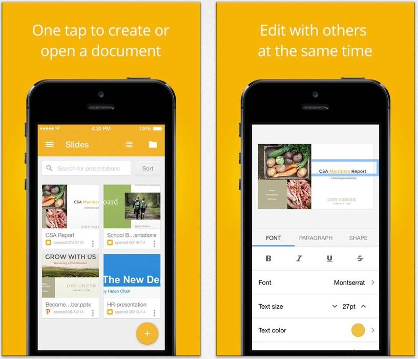 Google、iOS向けプレゼンテーションアプリ「Googleスライド」リリース、「Googleドキュメント」「Googleスプレッドシート」もアップデート