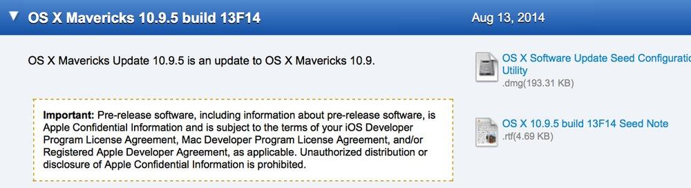 Apple、デベロッパー向けに「OS X Mavericks 10.9.5 build 13F14」リリース