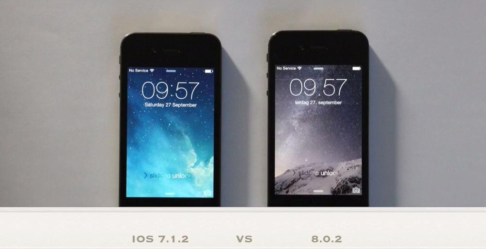 「iPhone 4S」に「iOS 8.0.2」と「iOS 7.1.2」を入れた状態での動作スピードを比較した動画
