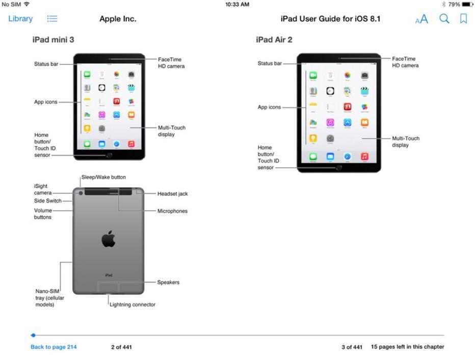 「iPad Air(第2世代)」と「iPad mini (第3世代)」の存在が「iPad Users Guide For iOS 8」のスクリーンショットから明らかに、Touch ID搭載へ