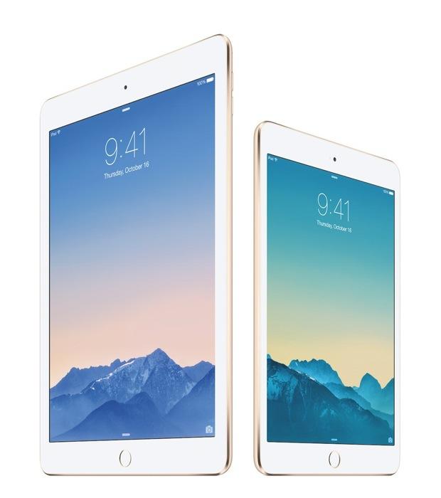 KDDI、「iPad Air 2 Wi-Fi+Cellularモデル」と「iPad mini 3 Wi-Fi+Cellularモデル」を10月下旬に発売と発表