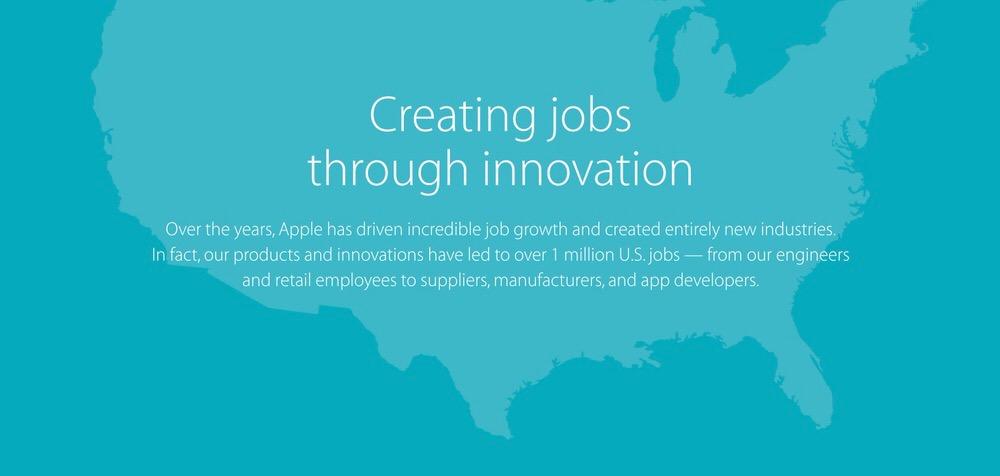 Apple、アメリカでの雇用状況を公開、100万人以上の雇用を創出していることを明らかに