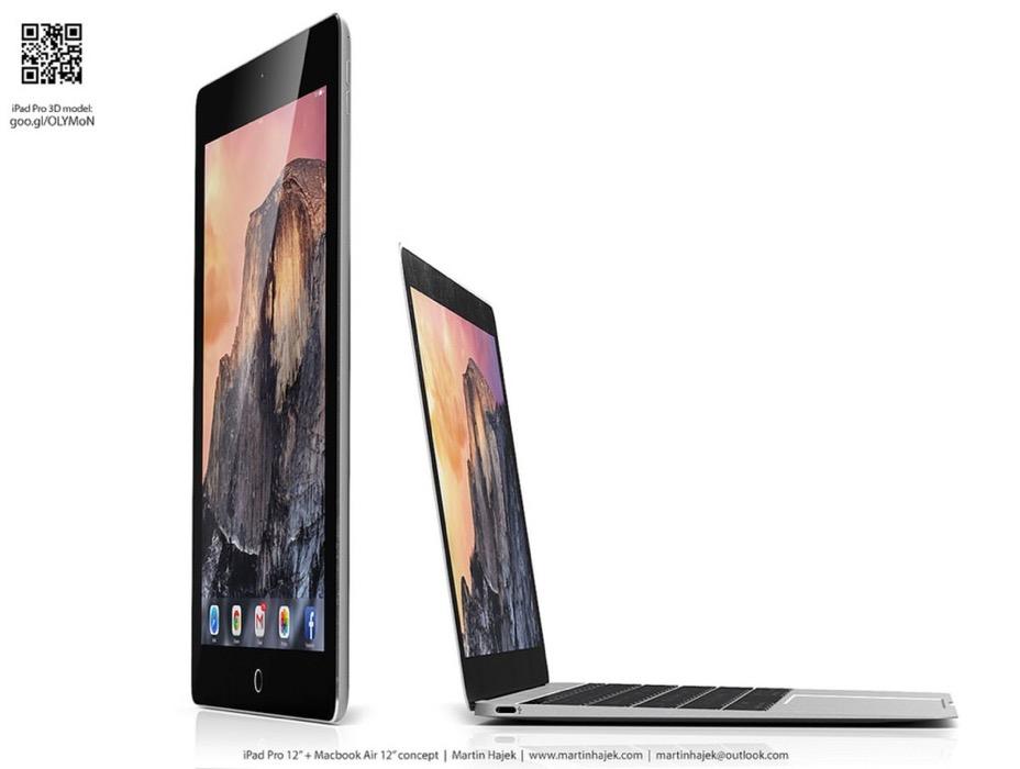 Martin Hajek氏:12インチ「iPad」と「MacBook Air」、さらにはスタイラスペンの3Dコンセプト画像を公開