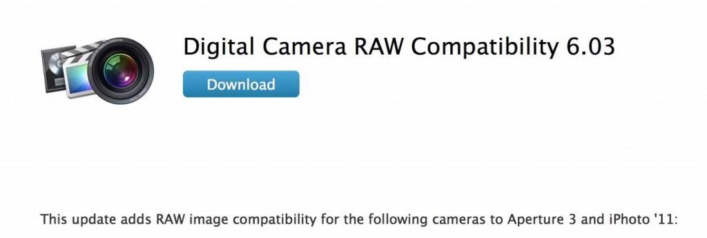 Apple、「デジタルカメラ RAW 互換性アップデート 6.03」リリース