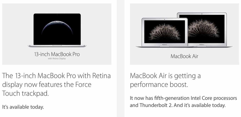 Apple、13インチ「MacBook Pro Retinaディスプレイモデル」と「MacBook Air」のアップデートを発表