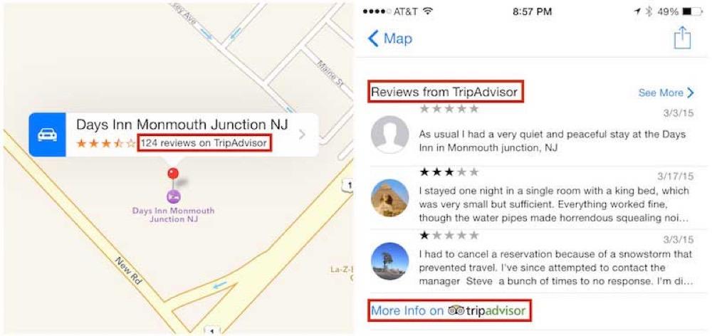 Apple、マップアプリにTripAdvisorとBooking.comのホテルの口コミ情報を追加