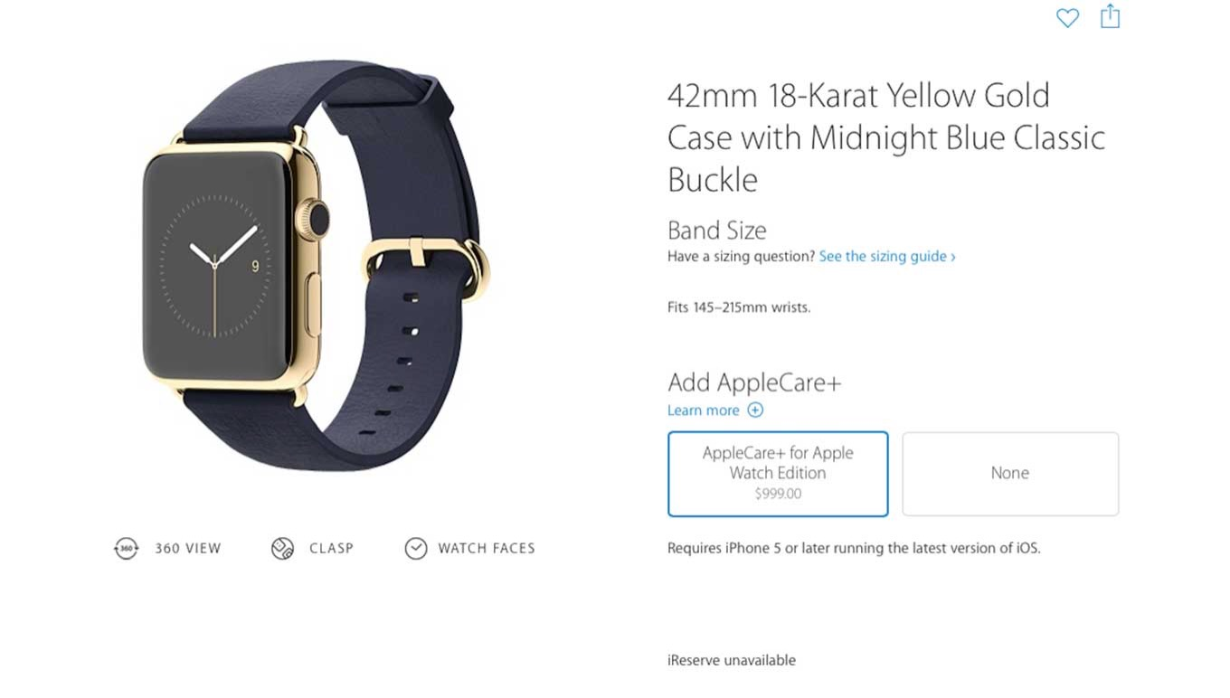 「AppleCare+ for Apple Watch」の価格はEditionが999ドル、Watchが79ドル、Sportが59ドル!?