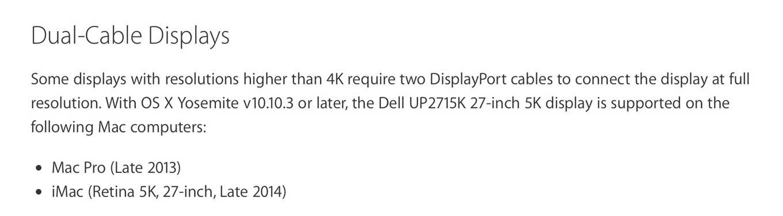 「OS X Yosemite 10.10.3」から「Mac Pro(Late 2013)」「iMac Retina 5K」でDellの5Kディスプレイ「Dell UP2715K」をサポート