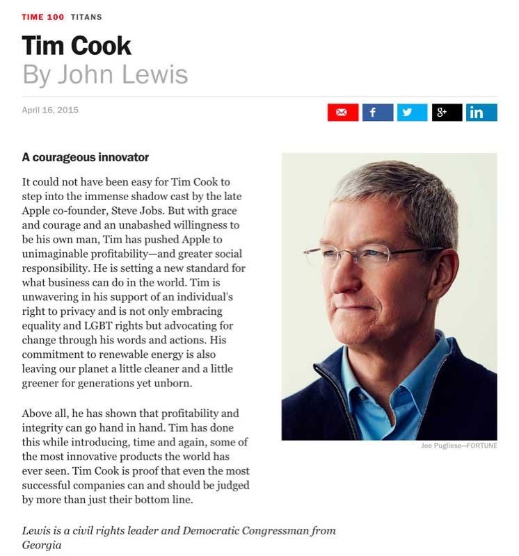 TIME誌が選ぶ「最も影響力のある100人」にTim Cook氏が選ばれる