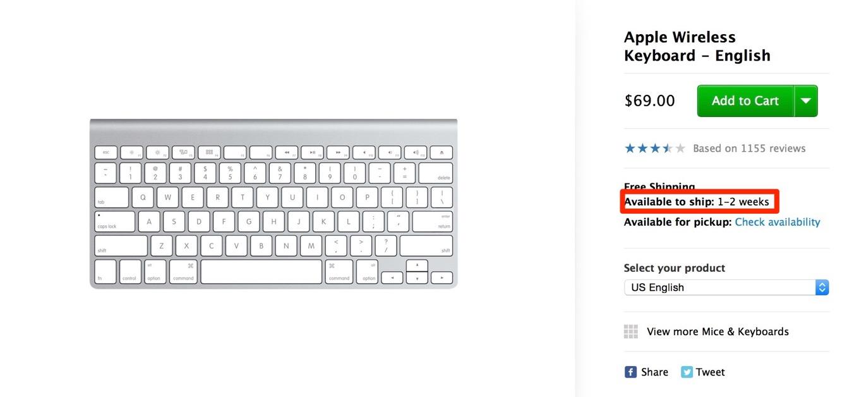 アメリカのApple Online Storeで「Apple Wireless Keyboard」の出荷予定日が「1-2週間」に延びる – 新型発売の可能性も??