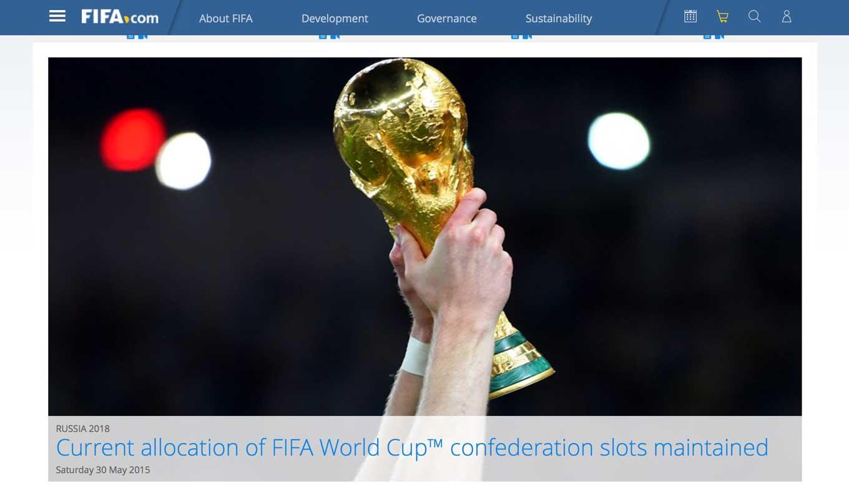 FIFA、2018年と2022年のワールドカップの出場枠を変更せず、アジアは4.5を維持