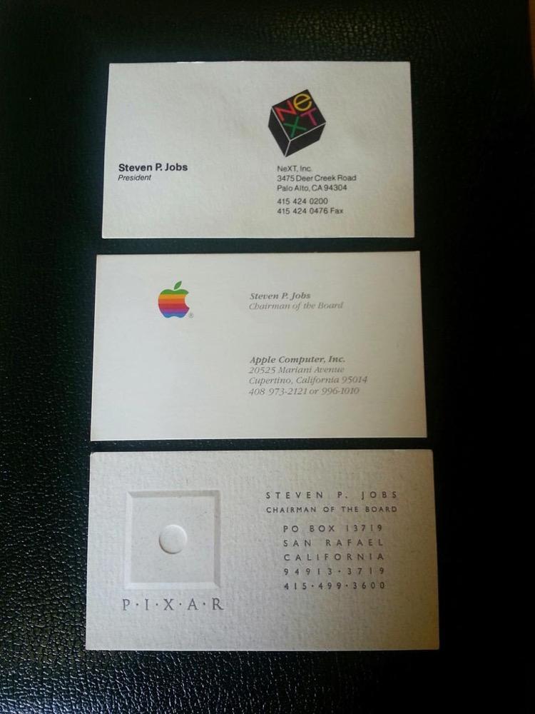 Steve Jobs氏のApple・NeXT・PIXER時代の3枚の名刺がオークションに出品される