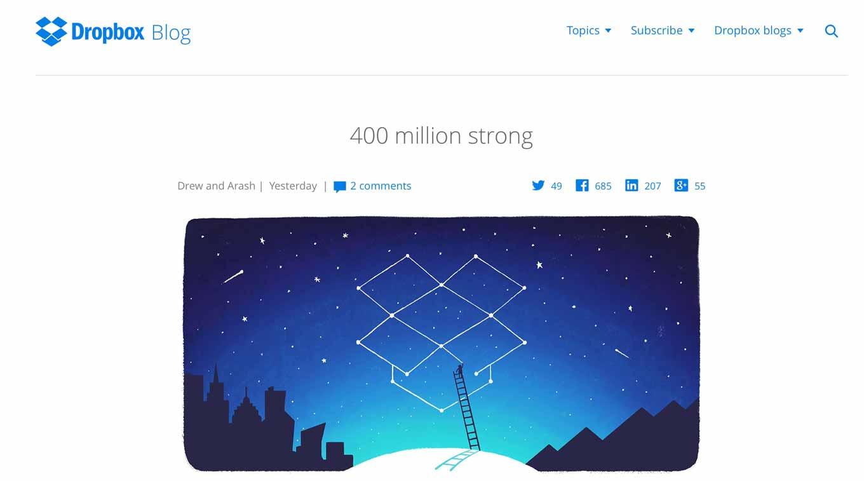 Dropbox、ユーザー数が4億人を突破したことを発表