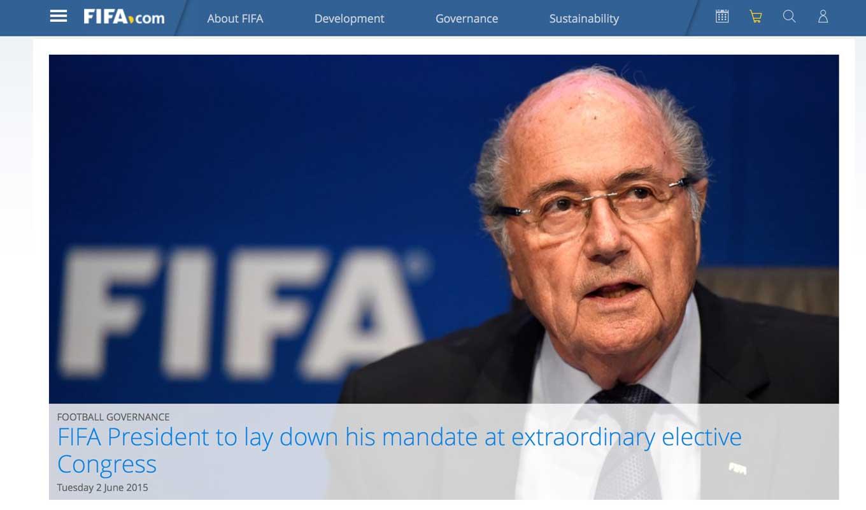 【速報】FIFA、ゼップ・ブラッター会長が辞任を表明