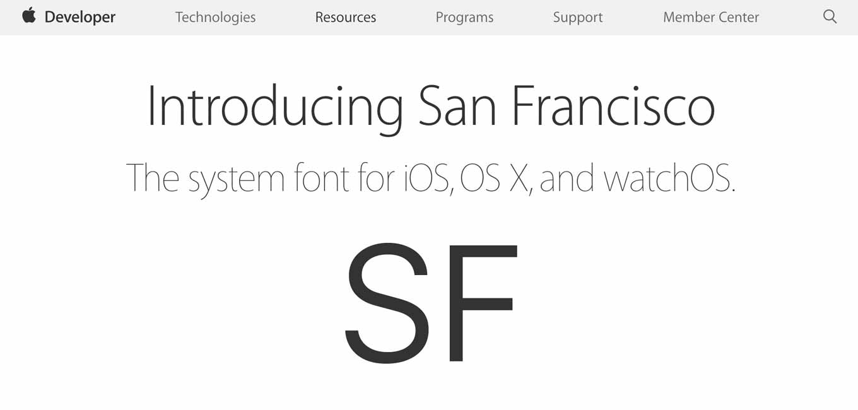 Apple、デベロッパー向けにiOS、OS X、watchOS用のシステムフォント「San Francisco」を配布開始