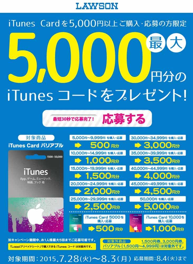 ローソン、iTunes Card 5,000円以上購入でiTunesコードをプレゼントするキャンペーンを実施中(2015年8月3日まで)
