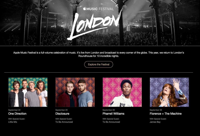 Apple、9月19日から10日連続で「Apple Music Festival」をロンドンのRoundhouseで開催へ