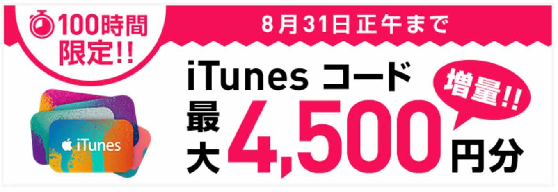 ソフトバンクオンラインショップ、「iTunes コード 最大4,500円分増量キャンペーン」を実施中(2015年8月31日正午まで)