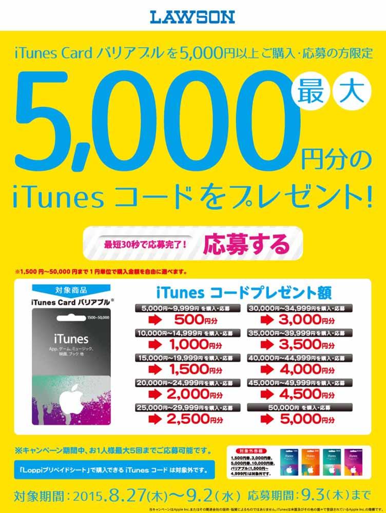 ローソン、「バリアブルiTunes Card」5,000円以上購入でiTunesコードをプレゼントするキャンペーンを実施中(2015年9月2日まで)