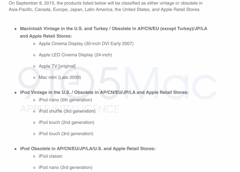Apple、9月8日に「Apple TV(第1世代)」や「Mac mini(Late 2009)」など一部の製品の修理サポートを終了へ