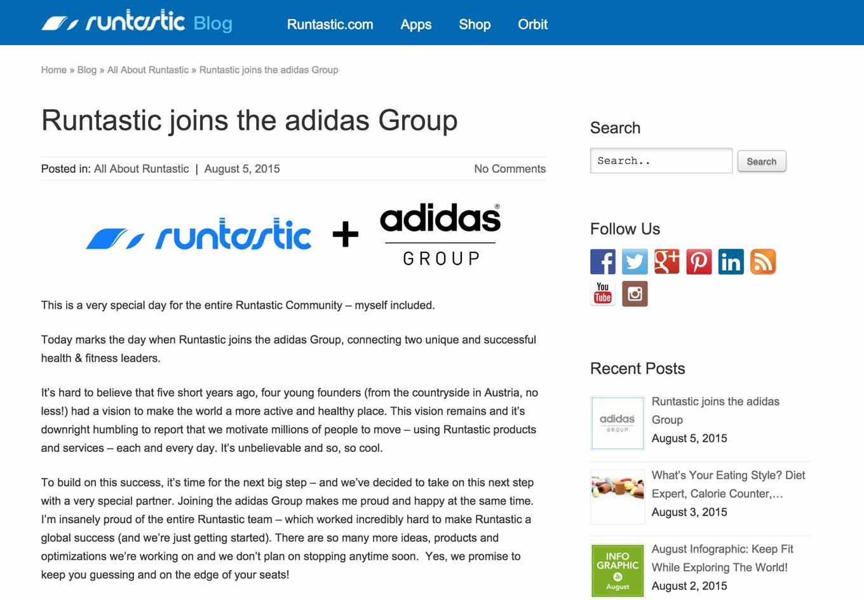 Adidas、人気フィットネスアプリメーカーの「Runtastic」を買収