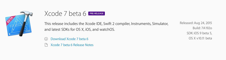 Xcode7beta6