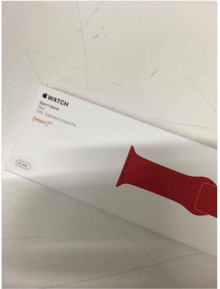 Apple、(PRODUCT)REDの「Apple Watch Sport Band」を発表か?パッケージ画像がリークされる