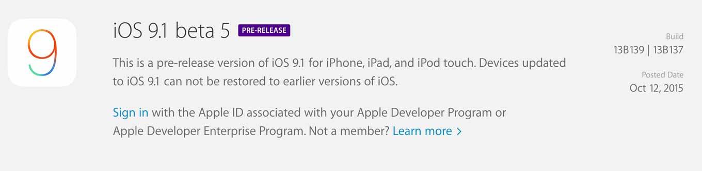 Apple、デベロッパ向けに「iOS 9.1 beta 5」リリース