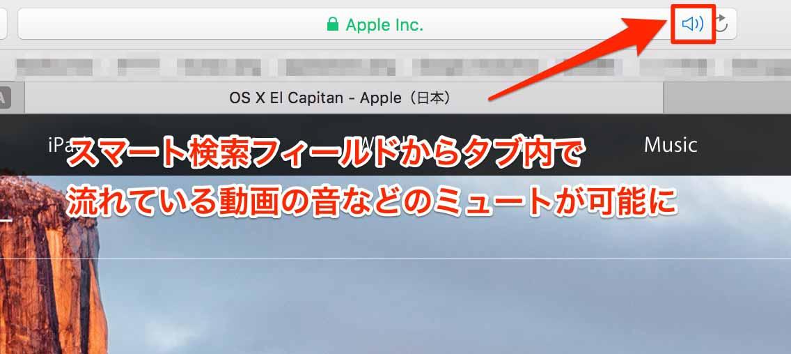 Safari 9.0:スマート検索フィールドからタブ内で流れている動画の音などのミュートが可能に