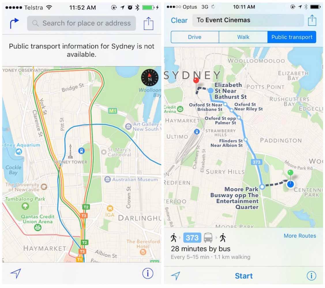 Apple、オーストラリア・シドニーでマップアプリの乗換案内サービスの提供を開始