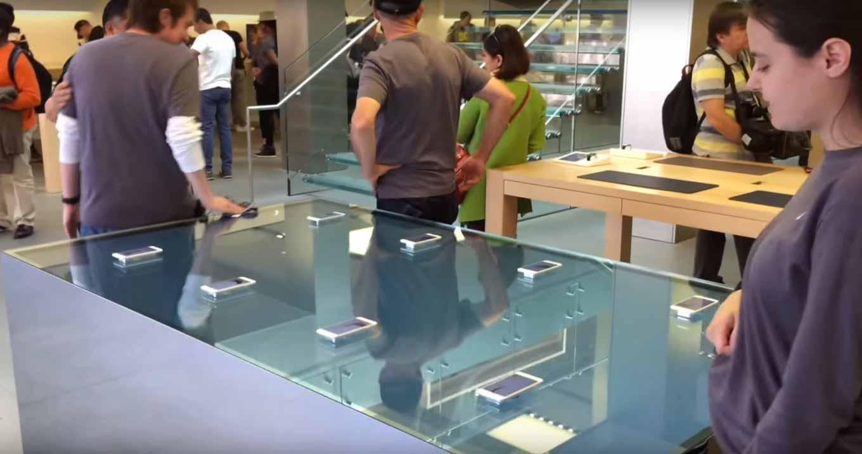 一部のApple StoreでiPhone 6sの3D Touchをアピールするためにタッチセンシティブなテーブルが登場