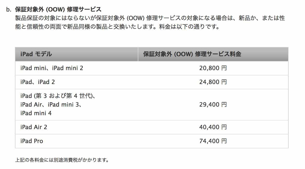 Apple、「iPad Pro」の保証対象外 (OOW) 修理サービス情報を公開 - 修理費用は74,400円