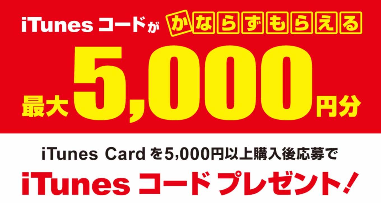 ビックカメラグループ、対象のiTunes Card購入で「iTunesコードがかならずもらえる 最大5,000円分」を実施中(2016年1月3日まで)