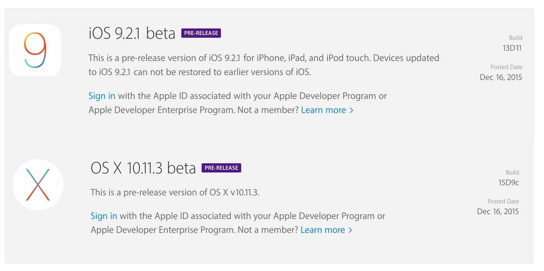 Apple、デベロッパー向けに「iOS 9.2.1 beta」と「OS X El Capitan 10.11.3 beta」をリリース