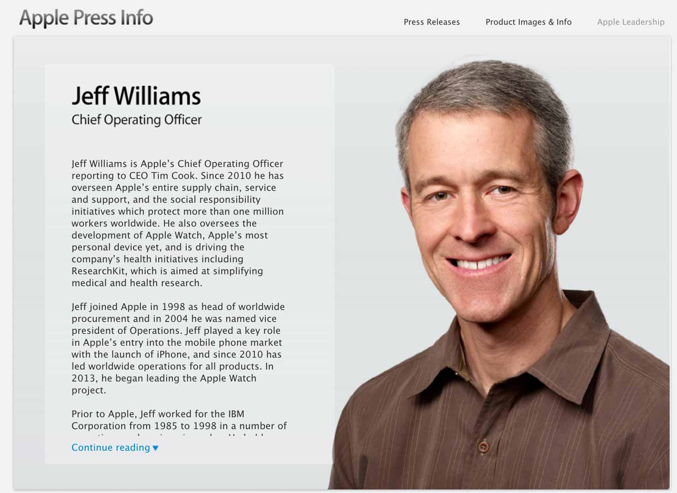 Apple、Jeff Williams氏がChief Operating Officer(COO)に就任したことを発表