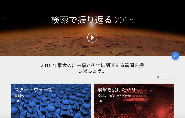 Google、2015年を振り返るページ「検索で振り返る2015」公開