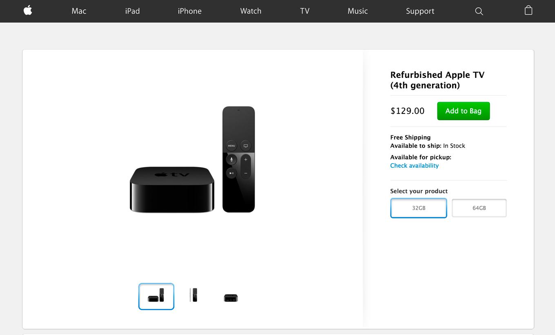 Apple、アメリカのオンラインストアで整備済「Apple TV(第4世代)」の販売を開始